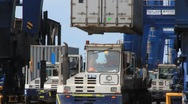 Shipping Container Loaded on Truck (HD) co Stock Footage