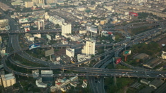 Bangkok Skyline Aerial View Car Cross Crowded Highway Dynamic Movement Busy Road Stock Footage
