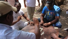 Latin Men Play Dominoes in the Park (HD) co Stock Footage