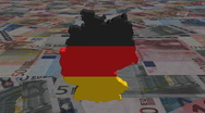 German map flag on scrolling euros animation Stock Footage