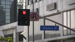Wilshire Blvd., Los Angeles Traffic light Stock Footage