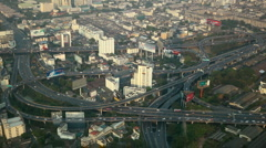 Bangkok Cityscape Panoramic View Modern Flyover Vehicles Movement Cars Crossing Stock Footage