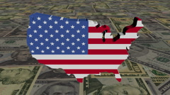 USA map flag on scrolling American dollars animation Stock Footage