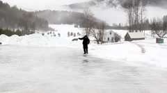 Man slipping on ice Stock Footage