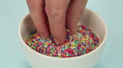 Hundreds And Thousands Cup cake Stock Footage