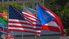 Puerto Rico - USA and Puerto Rico Flags Stock Footage