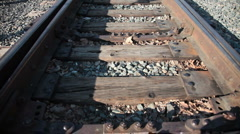 Railroad pan up - stock footage