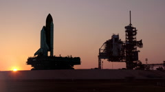 The Space Shuttle travels on the crawler to the launchpad at Cape Canaveral. Stock Footage