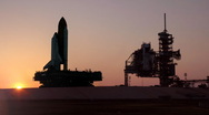 Stock Video Footage of The Space Shuttle travels on the crawler to the launchpad at Cape Canaveral.