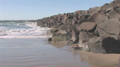 South Jetty Beach Waves rocks Stock Footage