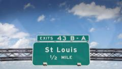 A Highway/Interstate sign going into the city of St. Louis, Missouri. - stock footage