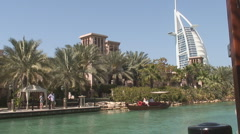 Jumeira With Burj Al Arab and Boat - stock footage