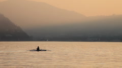 Canoe on the lake of Como - stock footage