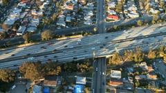 Aerial View of Los Angeles Freeway / Highway / Suburbs - Clip 11 Stock Footage