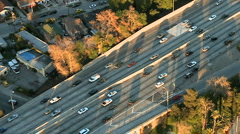 Aerial View of Los Angeles Freeway / Highway / Suburbs - Clip 2 Stock Footage