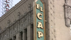 El Capitan Theatre sign in Hollywood - tilt down Stock Footage