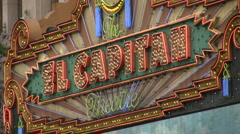 El Capitan Theatre sign in Hollywood - zoom out Stock Footage