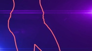 Ser-22 - neon outlined gogo dancer silhouette in red with lens flares Stock Footage