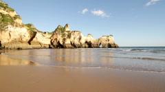 Atlantic ocean at Praia Tres Irmaos in Alvor Portugal Stock Footage