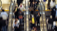 Stock Video Footage of escalators in shopping mall