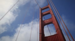 Looking up at Golden Gate Bridge w/ fog - stock footage