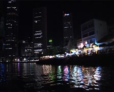 Singapore Skyline from the River at Night_GFSD Stock Footage