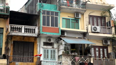The Bustling Street Scene Of Hanoi, Vietnam, Old Town, Colorful Old Poor Houses Stock Footage