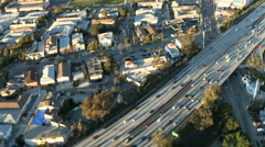 Aerial View of Los Angeles Freeway / Highway / Suburbs - Clip 6 Stock Footage