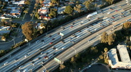 Aerial View of Los Angeles Freeway / Highway / Suburbs - Clip 7 Stock Footage