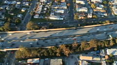 Aerial View of Los Angeles Freeway / Highway / Suburbs - Clip 9 Stock Footage