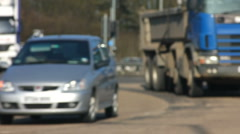 Road traffic on a bend in soft focus. Northamptonshire England UK Stock Footage