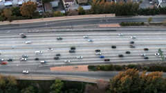 Aerial View of Los Angeles Freeway / Highway / Suburbs - Clip 3 Stock Footage