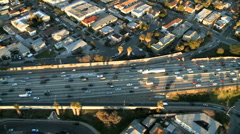 Aerial View of Los Angeles Freeway / Highway / Suburbs - Clip 5 - stock footage