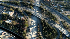 Speed Up Aerial View of Los Angeles Freeway / Highway / Suburbs - Clip 7 - stock footage