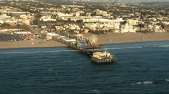 Aerial View of the Santa Monica Pier California Coast - Los Angeles - Clip 1 Stock Footage