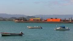 Puerto Rico - Oil - Bunker Fuel Sea Barge in San Juan Bay Stock Footage
