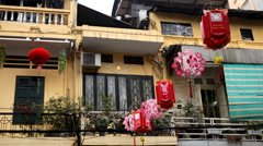 Vietnamese Lantern in Hanoi, Vietnam, Old Town, Colorful Old Poor Houses Stock Footage