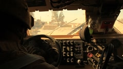Marines Inside a MRAP (HD) co - stock footage