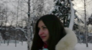 Stock Video Footage of Teenage girl walking in winter park