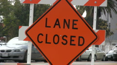 Lane closed sign - Close up shot Stock Footage