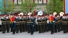 Military orchestra plays russian national anthem on Red Square - stock footage