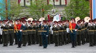 Military orchestra plays russian national anthem on Red Square Stock Footage