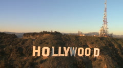 Stock Video Footage of Aerial View of the Hollywood Sign - Los Angeles - Clip 1