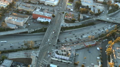 Speed Up Aerial View of Los Angeles Freeway / Highway / Suburbs - 1080 Stock Footage