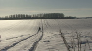 Man walks on snow covered countryside track. Stock Footage
