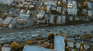 Stock Video Footage of Aerial View of Freeway / Highway / Suburbs -Los Angeles - Clip 3