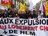 Paris Demonstration Against Housing Expulsions Stock Footage