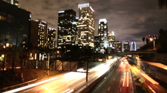 Time Lapse of LA Downtown Buildings & Freeway Los Angeles - Clip 3 - stock footage