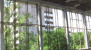 Inside Abandoned Building at Chernobyl Ghost town co Stock Footage