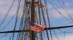 Puerto Rico - American Flag on Historic Tall Sailing Ship in San Juan Harbor Stock Footage